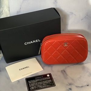 Chanel O case cosmetic pouch red Lambskin